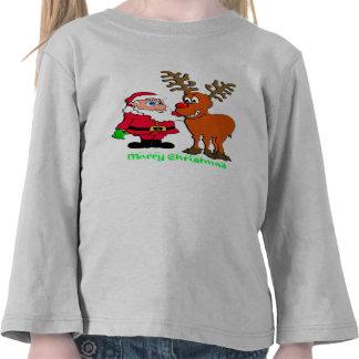 Santa y camisetas y regalos de Rudolph