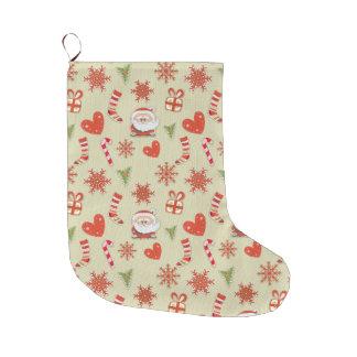 Santa y caramelo calcetín navideño grande