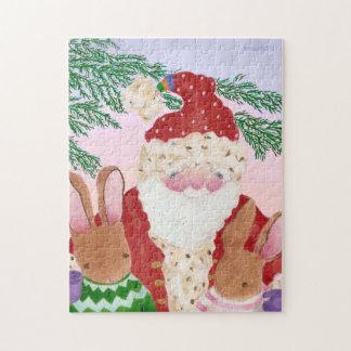 Santa y conejitos en el rompecabezas de la puesta