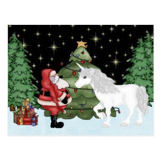 Santa y día de fiesta mágico del navidad del postales