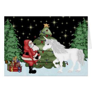 Santa y día de fiesta mágico del navidad del tarjeta de felicitación