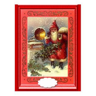 Santa y el gramaphone tarjeta postal
