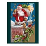 Santa y el hombre en el navidad del vintage de la postal
