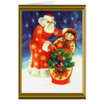 Santa y el matryoska tarjeta