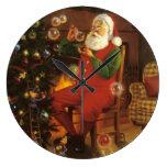 Santa y el reloj de pared de las burbujas