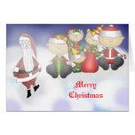 Santa y equipo tarjetas