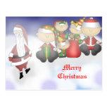 Santa y equipo tarjetas postales