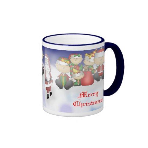 Santa y equipo tazas de café