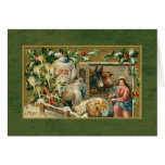 Santa y escena de la natividad tarjeta