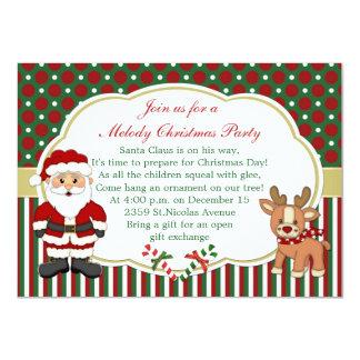 """Santa y fiesta de Navidad de los candycanes Invitación 4.5"""" X 6.25"""""""