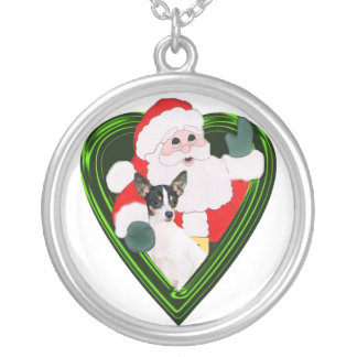 Santa y fox terrier del juguete colgante redondo