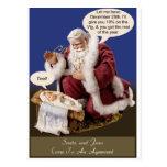Santa y Jesús hacen un trato Postal