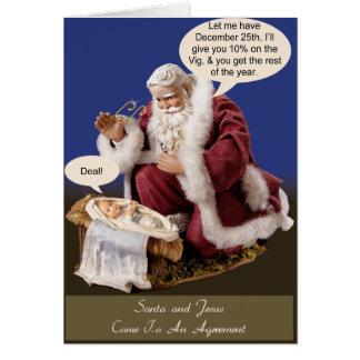 Santa y Jesús hacen un trato Tarjeta De Felicitación