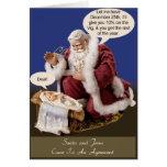 Santa y Jesús hacen un trato Tarjetón