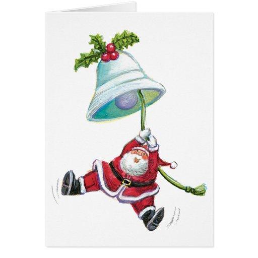 Santa y la Bell Tarjeta De Felicitación