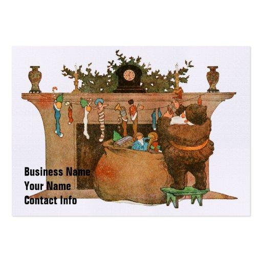 Santa y la chimenea tarjetas de negocios