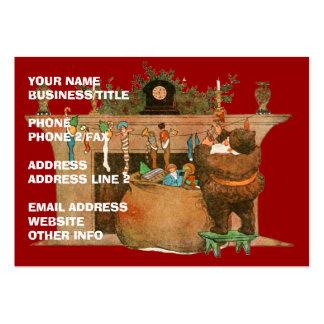 Santa y la chimenea tarjetas de visita grandes