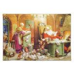 Santa y la señora Claus y los duendes comprueban s Manteles Individuales