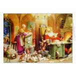 Santa y la señora Claus y los duendes comprueban s Felicitación