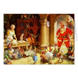 Santa y la señora Claus y los duendes cuecen las g Tarjeta De Felicitación