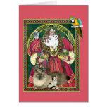Santa y los animales tarjetón
