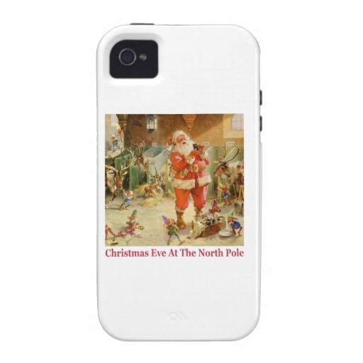 Santa y los duendes en los establos de Polo Norte iPhone 4 Carcasas