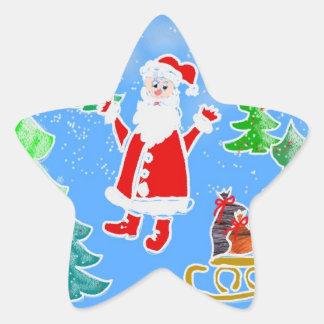 Santa y los presentes calcomanías forma de estrellas personalizadas