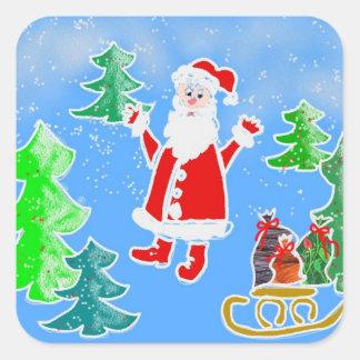 Santa y los presentes calcomanía cuadradas personalizadas