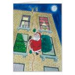 Santa y menorah tarjeta de felicitación