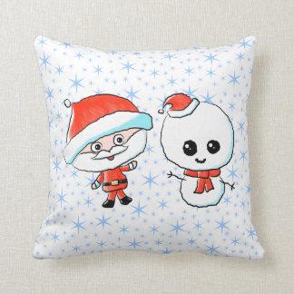 Santa y muñeco de nieve lindos cojin