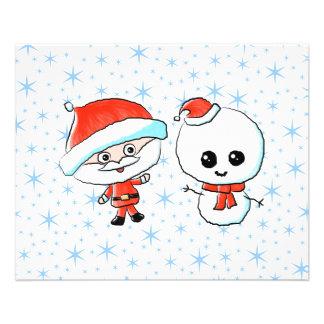 Santa y muñeco de nieve lindos tarjetas publicitarias
