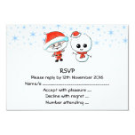 Santa y muñeco de nieve lindos invitación 8,9 x 12,7 cm