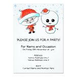 Santa y muñeco de nieve lindos invitación 12,7 x 17,8 cm