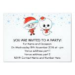 Santa y muñeco de nieve lindos invitación 11,4 x 15,8 cm