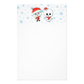 Santa y muñeco de nieve lindos personalized stationery
