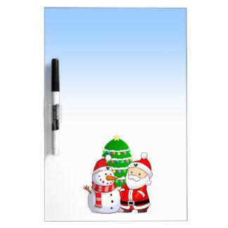 Santa y muñeco de nieve lindos pizarras blancas