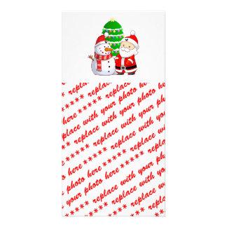 Santa y muñeco de nieve lindos tarjeta fotografica personalizada