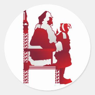 Santa y niño pegatina redonda