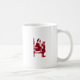 Santa y niño taza básica blanca