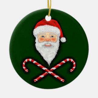 Santa y ornamento cruzado de los bastones adornos