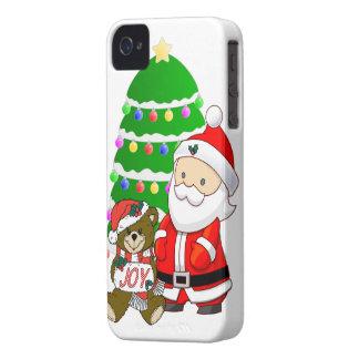 Santa y oso del navidad Case-Mate iPhone 4 fundas