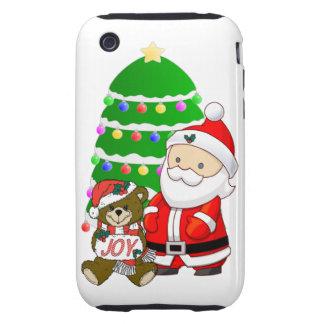 Santa y oso del navidad tough iPhone 3 cobertura