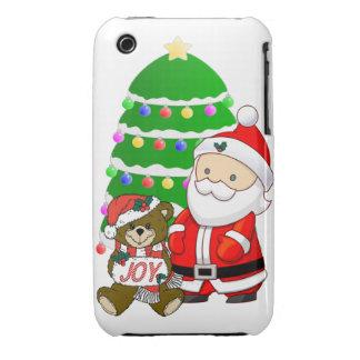 Santa y oso del navidad iPhone 3 Case-Mate cobertura