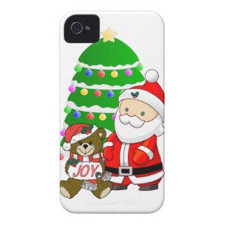 Santa y oso del navidad iPhone 4 Case-Mate protectores