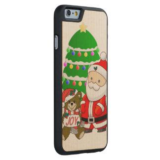 Santa y oso del navidad funda de iPhone 6 carved® de arce