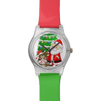 Santa y oso del navidad reloj de mano