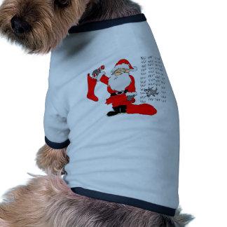 Santa y perro divertidos camisa de perro