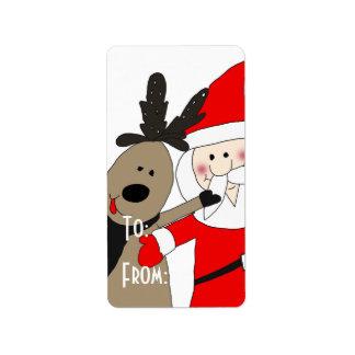 Santa y reno alegres etiquetas de dirección
