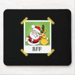 Santa y reno BFF Alfombrillas De Ratón