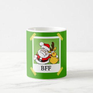 Santa y reno BFF Taza